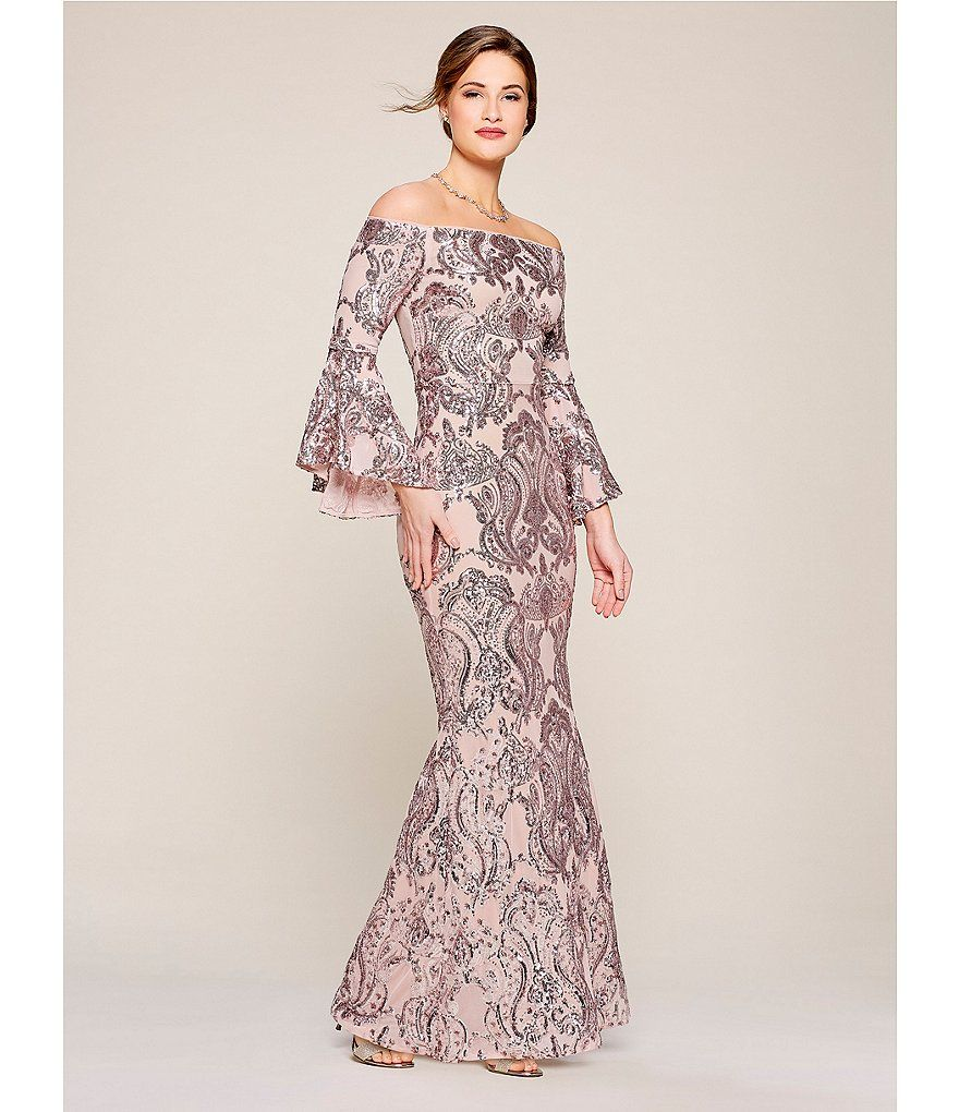 9dc8abd477 Betsy   Adam Sequined Off-the-Shoulder Flutter Sleeve Sequined Gown ...