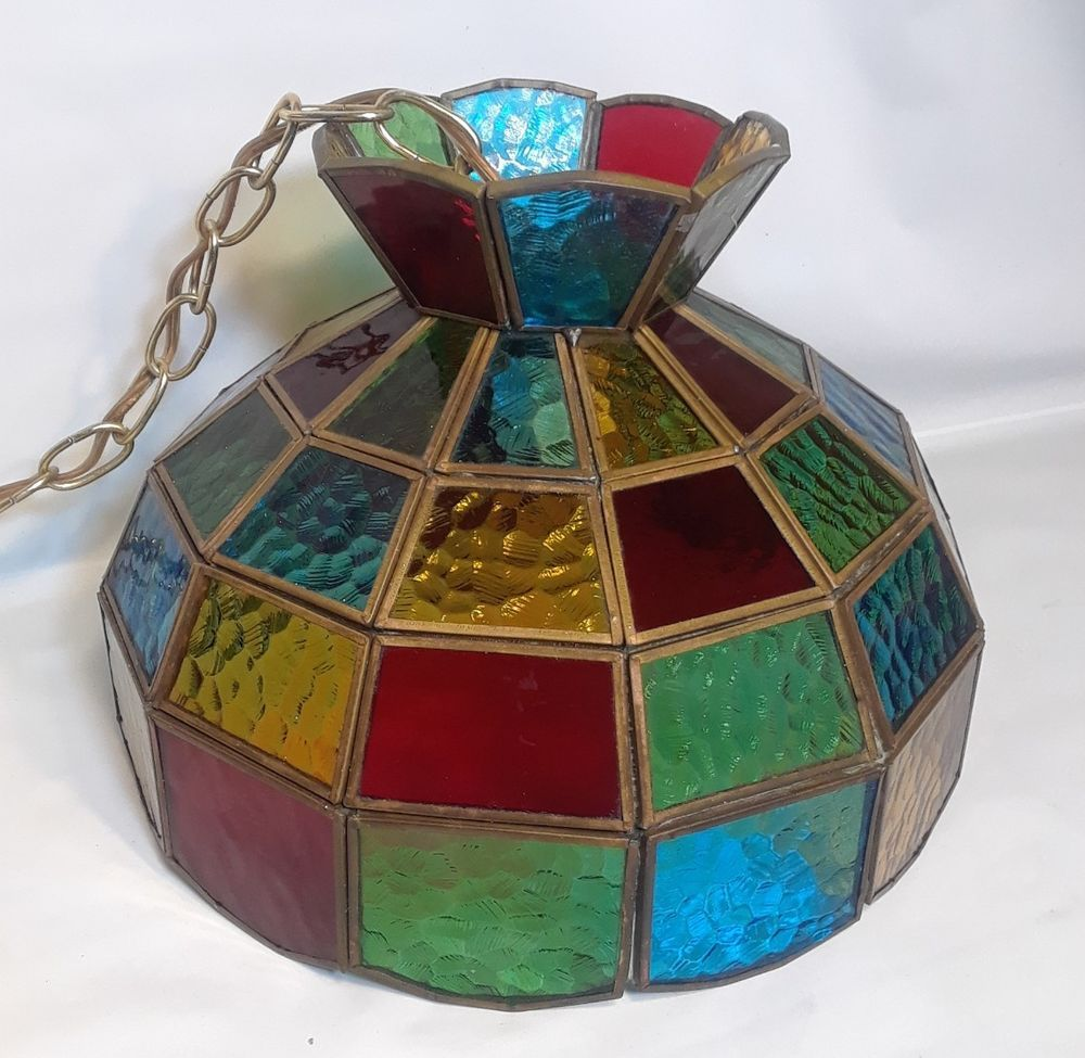 Vtg Stain Glass Lamp Shade 11 5 W Mexico Green Red Blue Yellow Glass Lamp Shade Stained Glass Lamp Shades Stained Glass Lamps