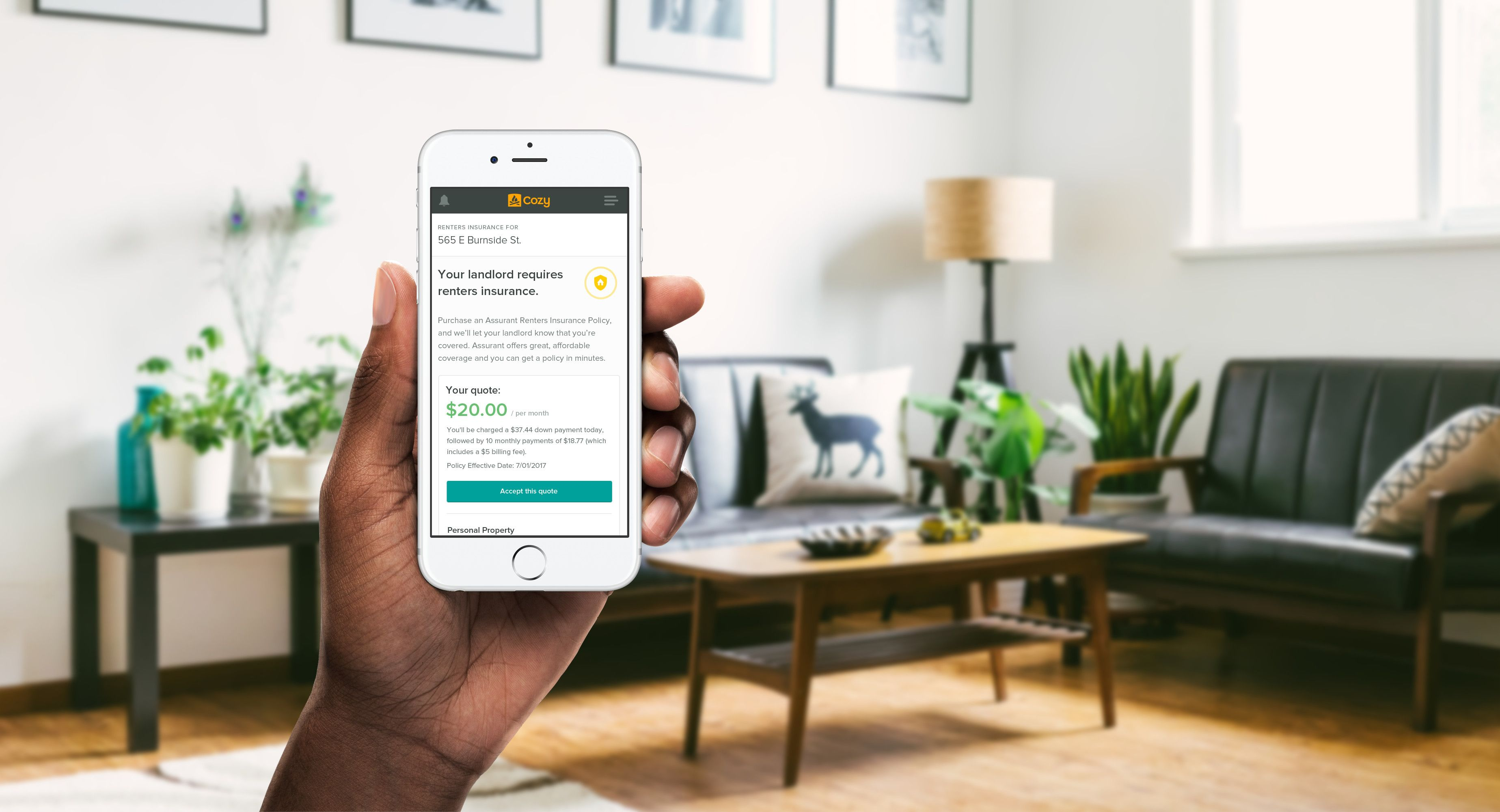 Cozy makes it easy for tenants to get renters insurance