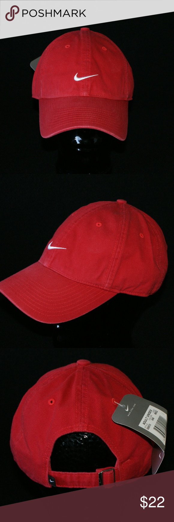 568a11f48f8 Nike Hat.....NWT Brand New W Tags...Never Worn 100% cotton...thin corduroy  Adjustable Back Color  Red w White Swoosh Nike Accessories Hats
