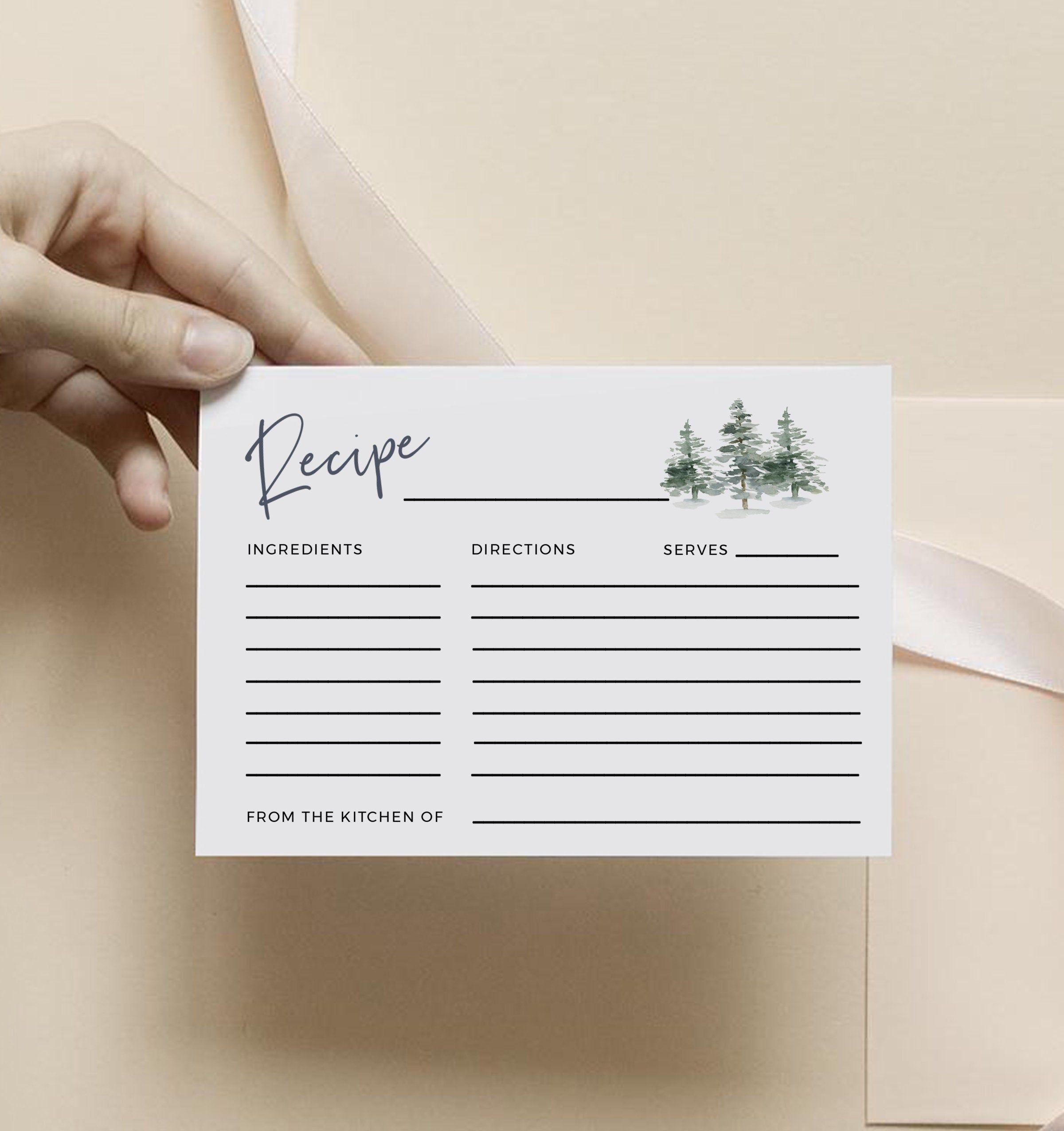 Pine Tree Recipe Card Printable Bridal Shower Recipe Insert Etsy Printable Recipe Cards Recipe Cards Template Recipe Cards