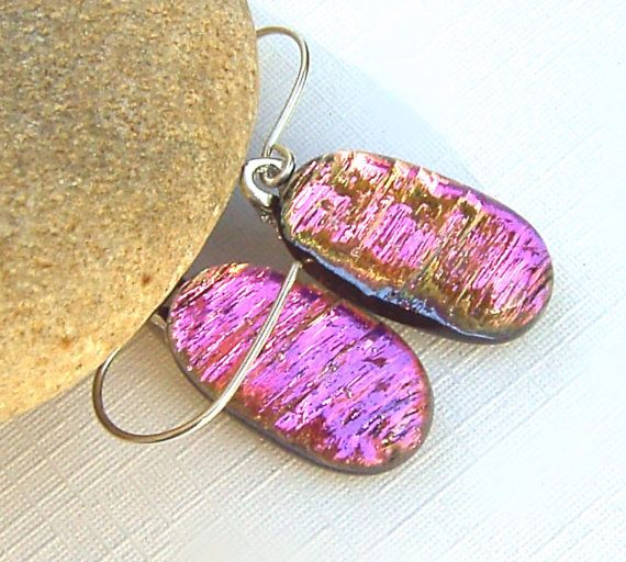 Drop Earrings  Fused Glass Jewelry  Pink Dichroic by TremoughGlass, $20.00