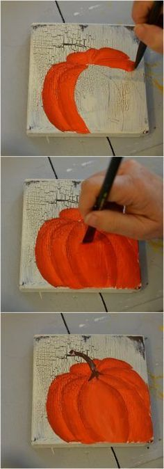 Learn How To Paint Orange Pumpkins Easy Craft And Paintings