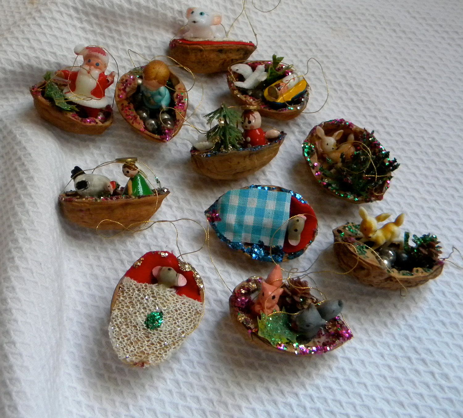 Handmade christmas ornaments on etsy - Vintage Hand Made Walnut Shell Christmas Ornament Lot 11 Kitsch Sleeping Mouse Santa Reindeer Babies Plastic
