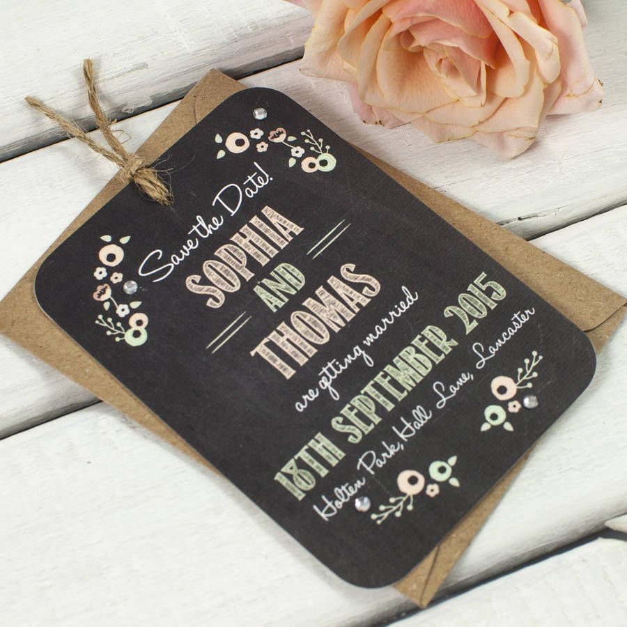Pastel Floral Chalkboard Gem Save The Date