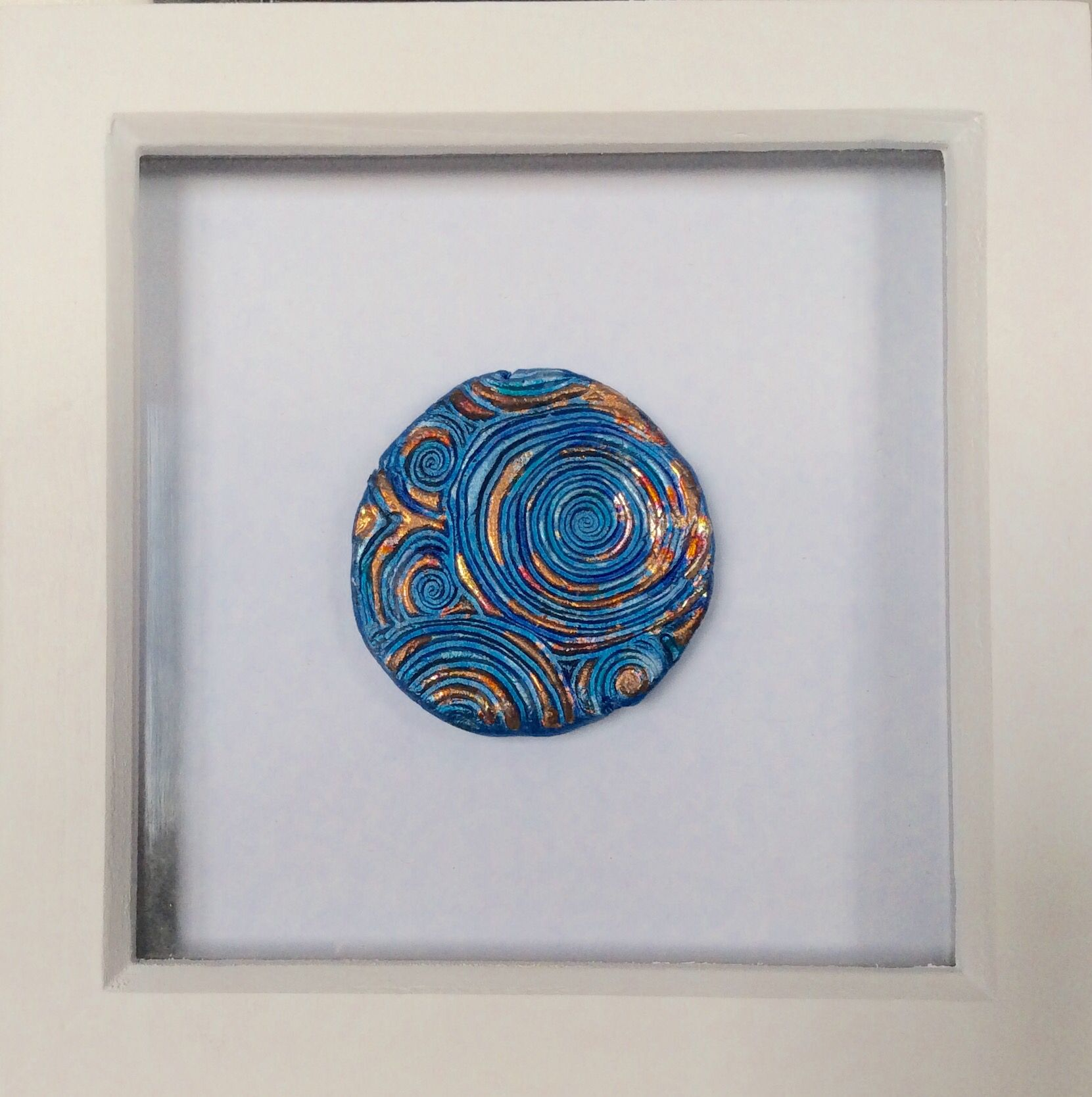 Pool\' by Sarah Seven. Clay and guild in a white boxed frame ...