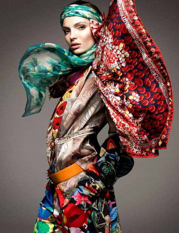 5b7600d3 Scarf-Exploding Styles The Vogue Germany January 2012 Editorial Stars the  Colorful Carola Remer