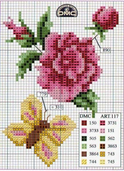 Patrones Flores En Punto De Cruz Cross Stitch Pinte