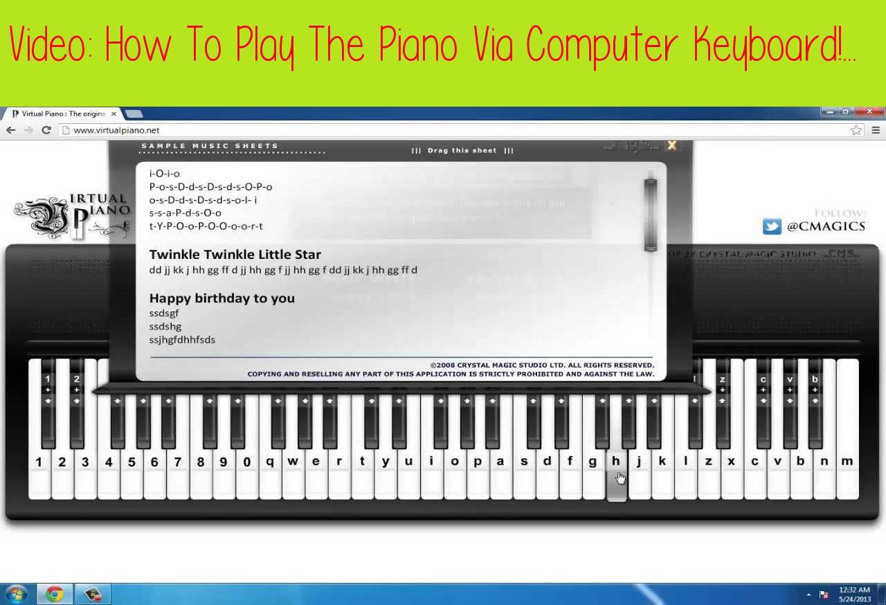 How To Play The Piano Via Computer Keyboard!This tutorial
