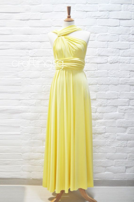 51de655f5f7 Bridesmaid Dress Infinity Dress Sunshine Yellow Floor Length Wrap  Convertible Dress Wedding Dress
