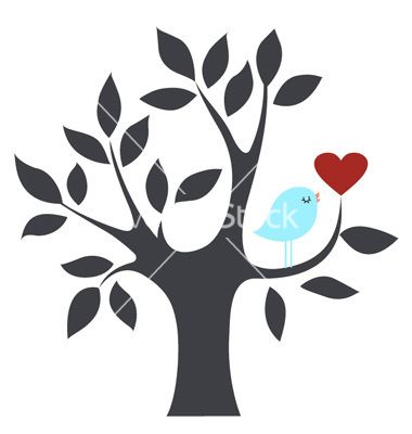 Bird in tree with heart, template for handmade greeting card