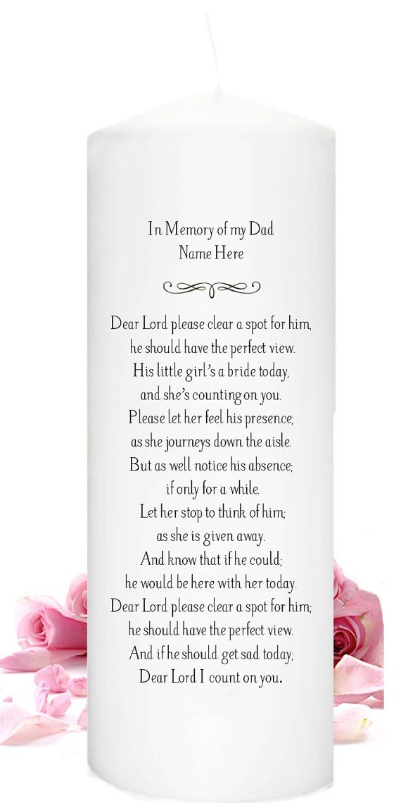 In Memory Of A Deceased Dad Or Mother On Wedding Day  Dads Etsy