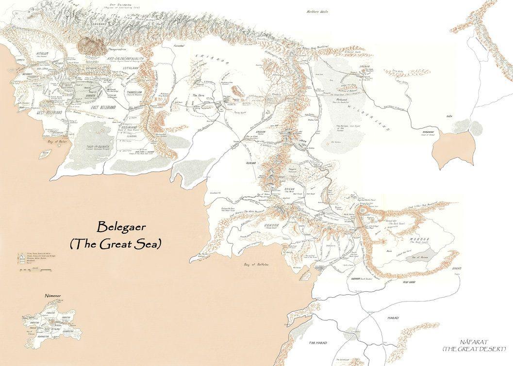 Carte Terre Du Milieu Premier Age.Carte Fusionnee De La Terre Du Milieu A Travers Les Trois