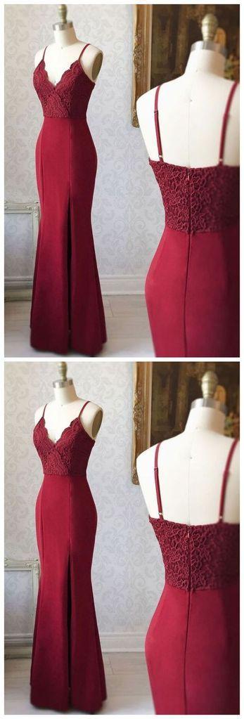 Burgundy Mermaid Long Prom Dress Fashion Party Dress LP278