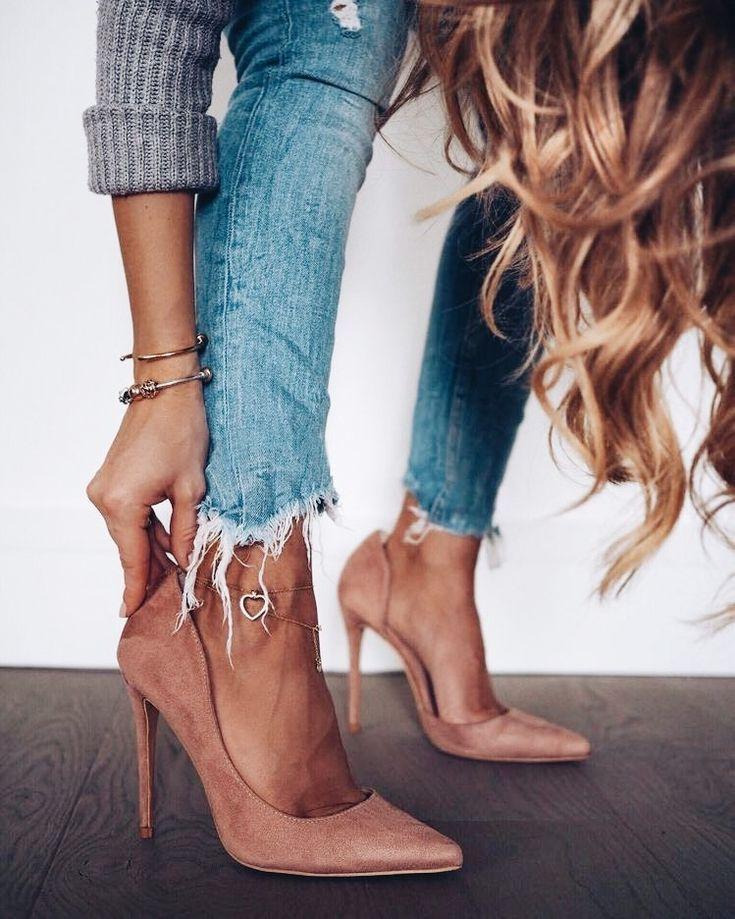 Suede heels.#design
