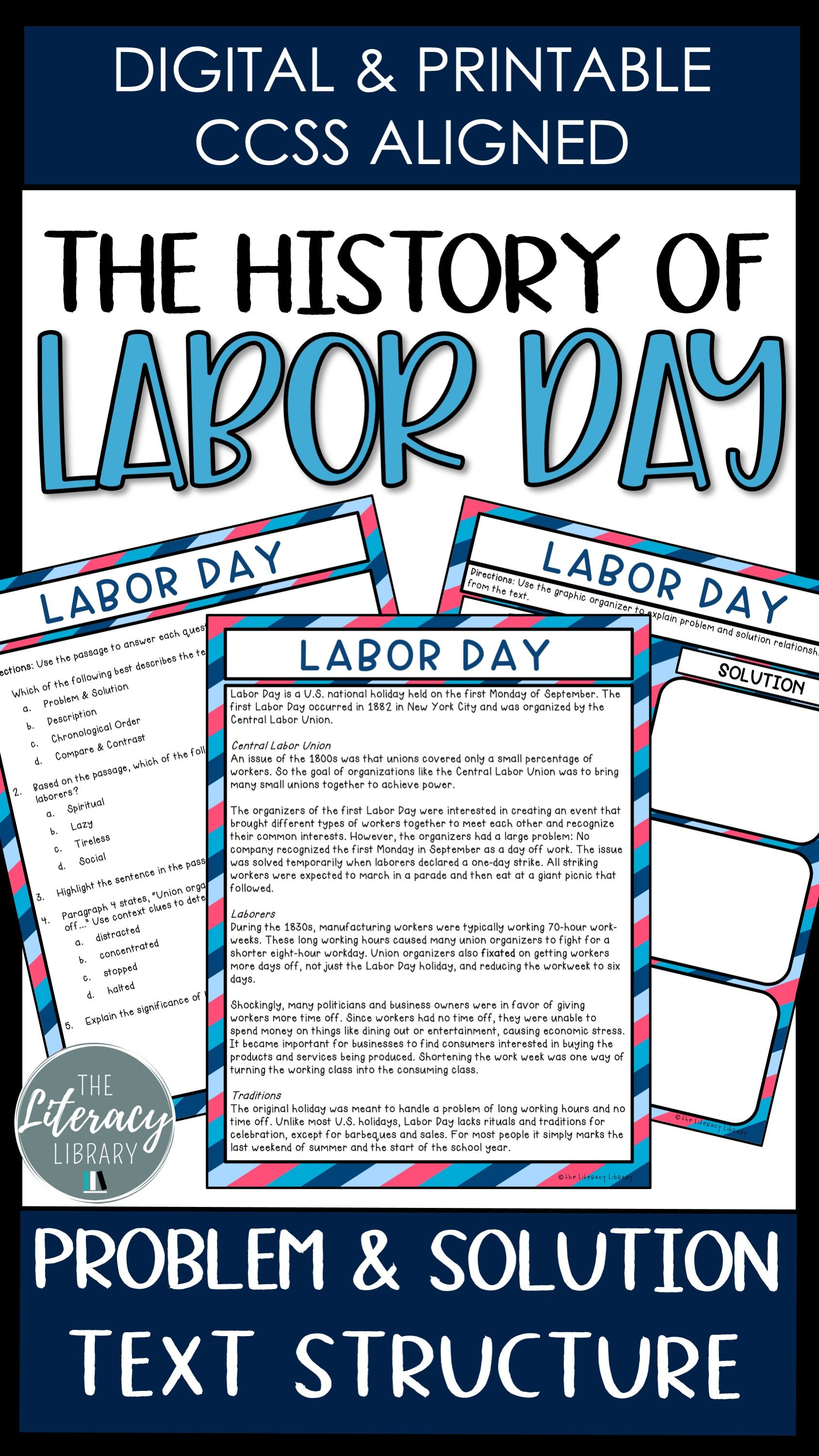 Reading Passage Labor Day Distance Learning Reading Passages Holiday Reading Passages Nonfiction Reading Passages