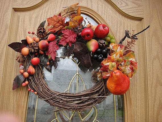 Autumn Wreath NOW ON SALE Harvest Wreath Hand Crafted Wreath Front