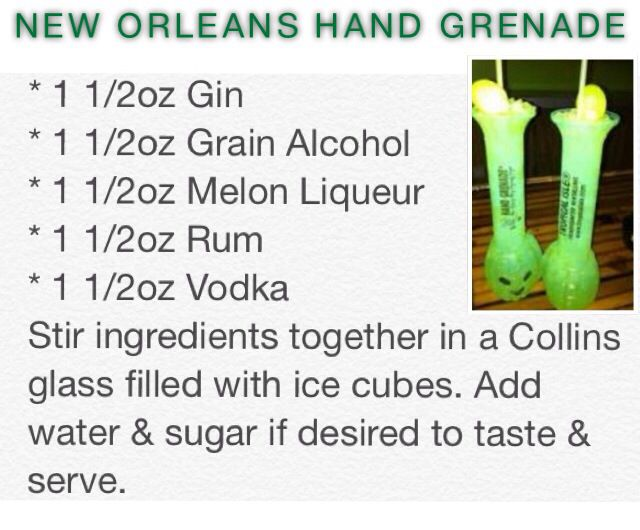 New Orleans Hand Grenade Party Drinks Alcohol Mixed Drinks Alcohol Alcohol Drink Recipes