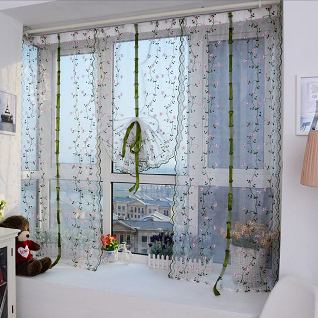 Amazon.com : AutumnFall® 1 PC Flower color Tulle Door Window Curtain ...