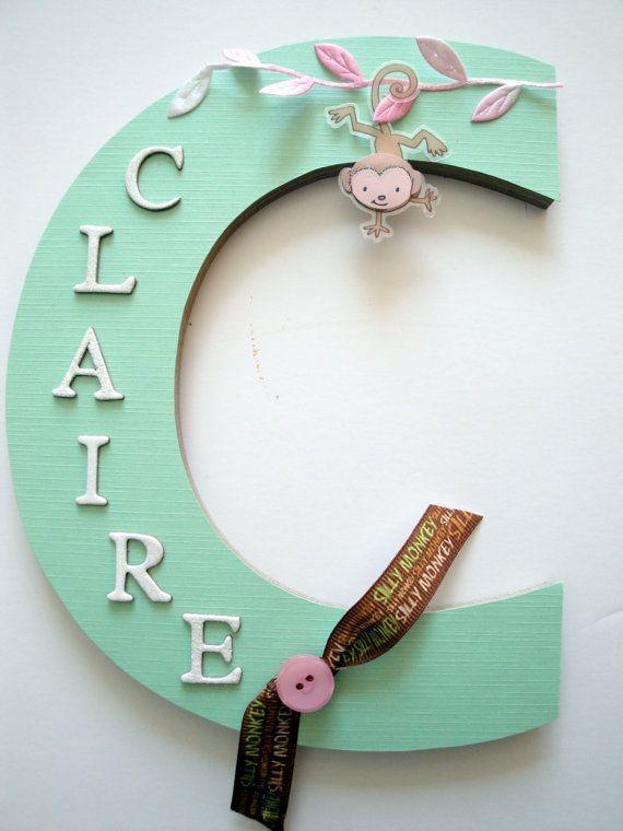 For Abigail - Diy - Baby Monkey Nursery Wall Letter, Girls Nursery