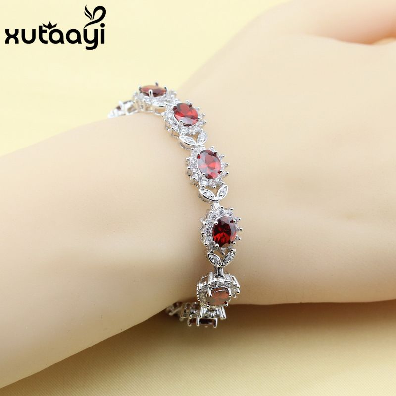 New Flower Red Created Garnet Cubic Zirconia Silver Color Jewelry Adjustable Link Chain Bracelet Length 18+3 cm