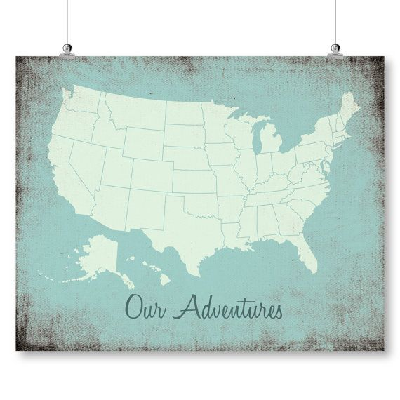 Large push pin rustic usa map poster download united states ...