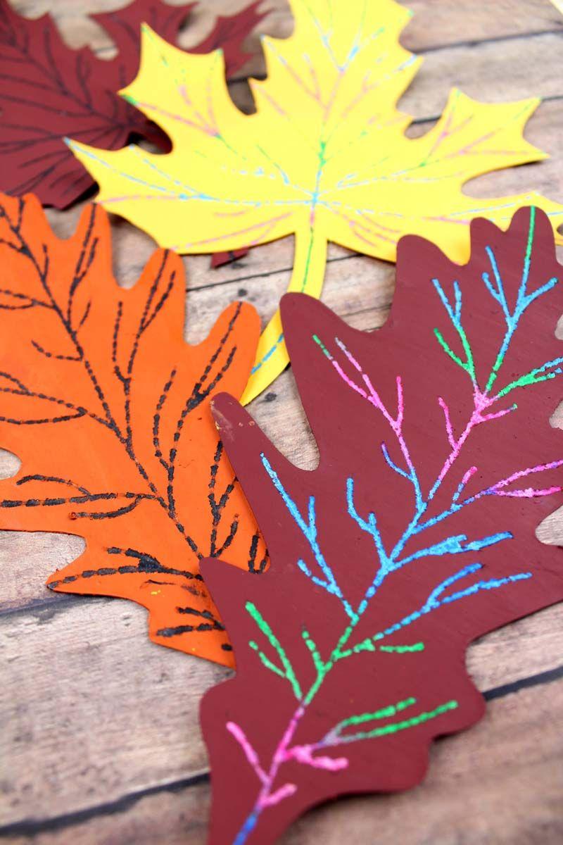 Make This Beautiful Scratch Art Fall Leaf Craft