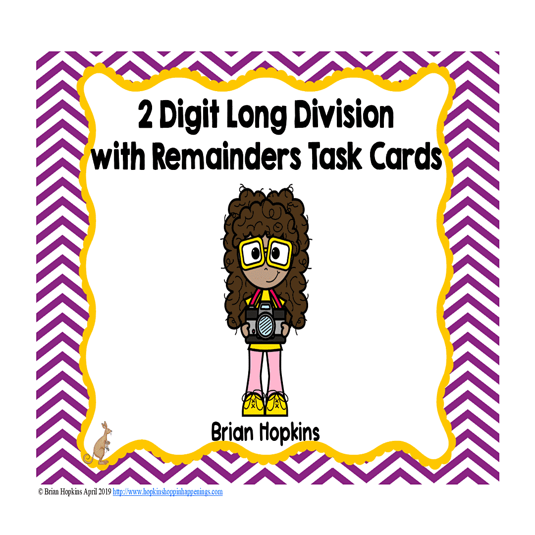 Cameras 2 Digit Long Division With Remainders Task Cards