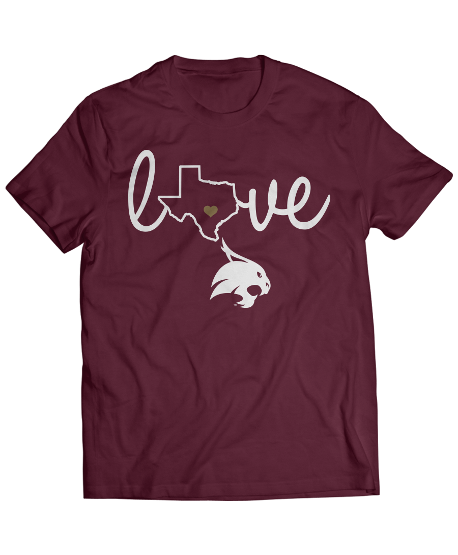 Texas State Bobcats Love With State Outline School Spirit Shirts Spirit Shirts School Spirit Shirts Designs