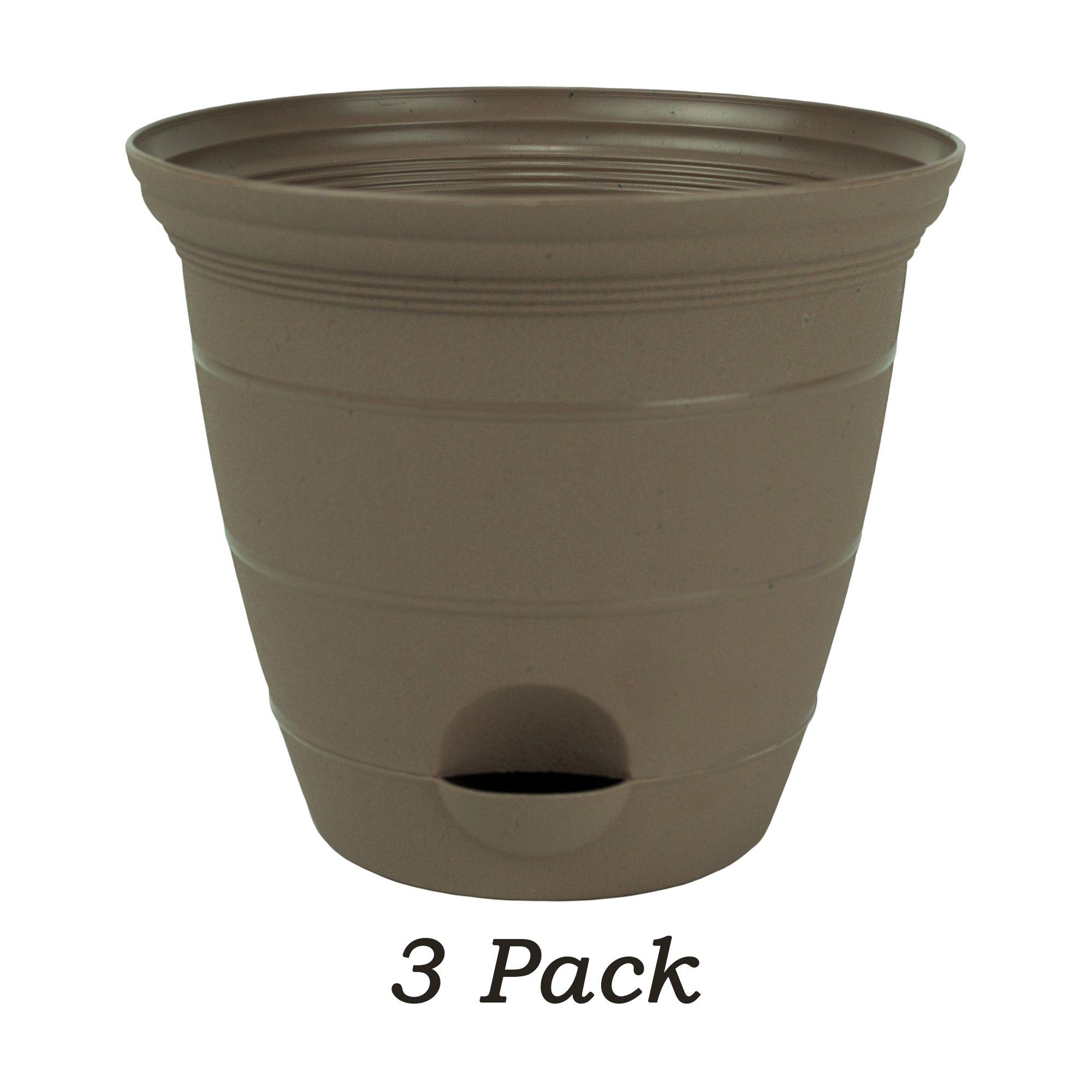 Misco 3 Pack 12 Inch Sandalwood Plastic Self Watering Terra Flower Pot Or Garden Planter Garden Planters Garden Planters Pots Flower Pots