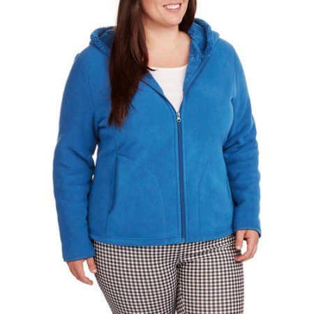4d6f1008aa1 Faded Glory Women s Plus-Size Microfleece Hoodie with Cozy Sherpa Lining