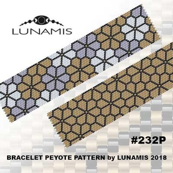 Peyote pattern for bead bracelet, odd count peyote, digital file pdf, #232P