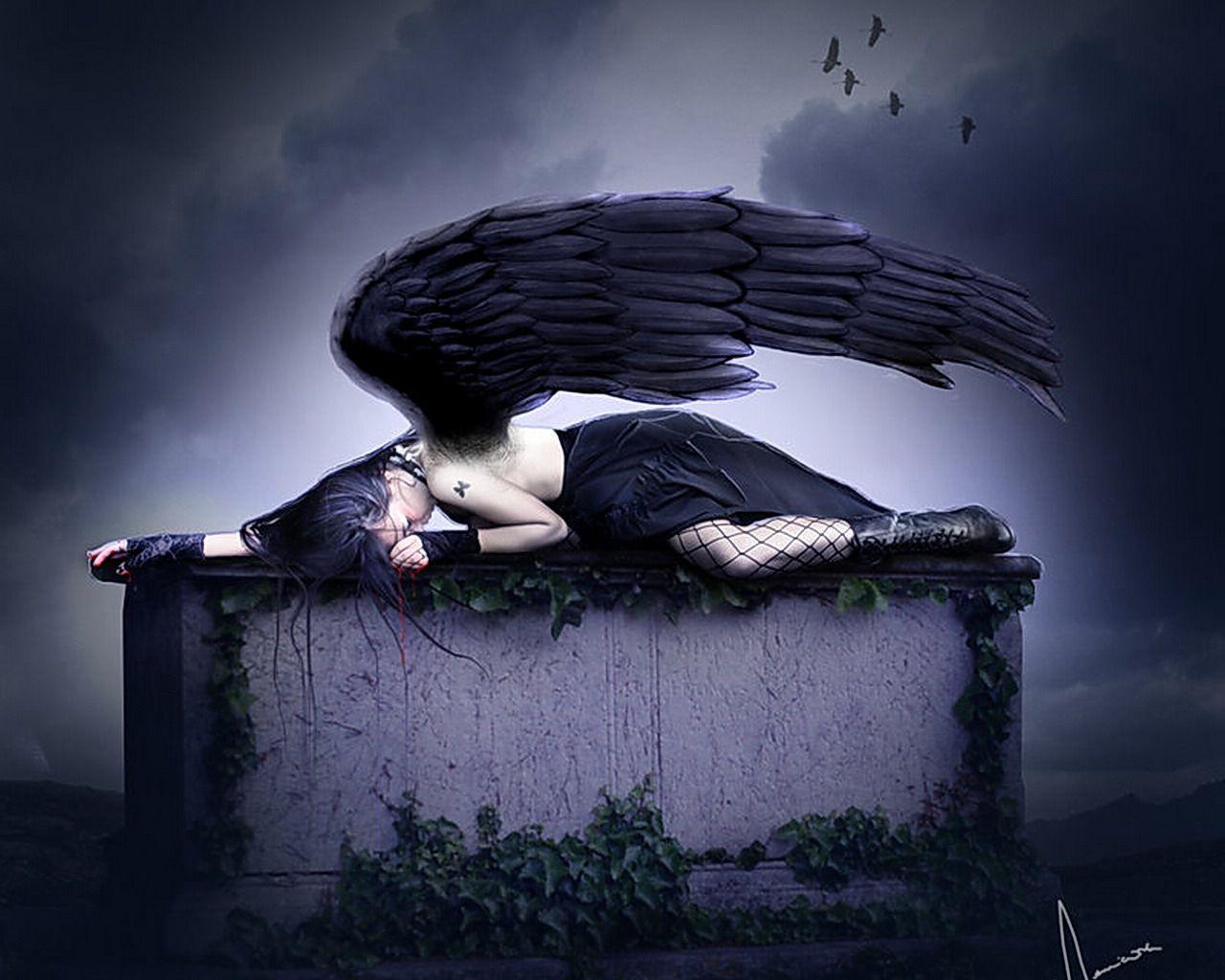Sleeping Dark Angel wallpaper from Angels wallpapers