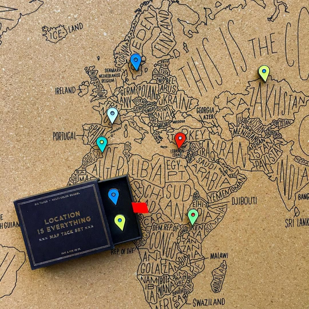 enamel location tacks by easy tiger mark where youve been