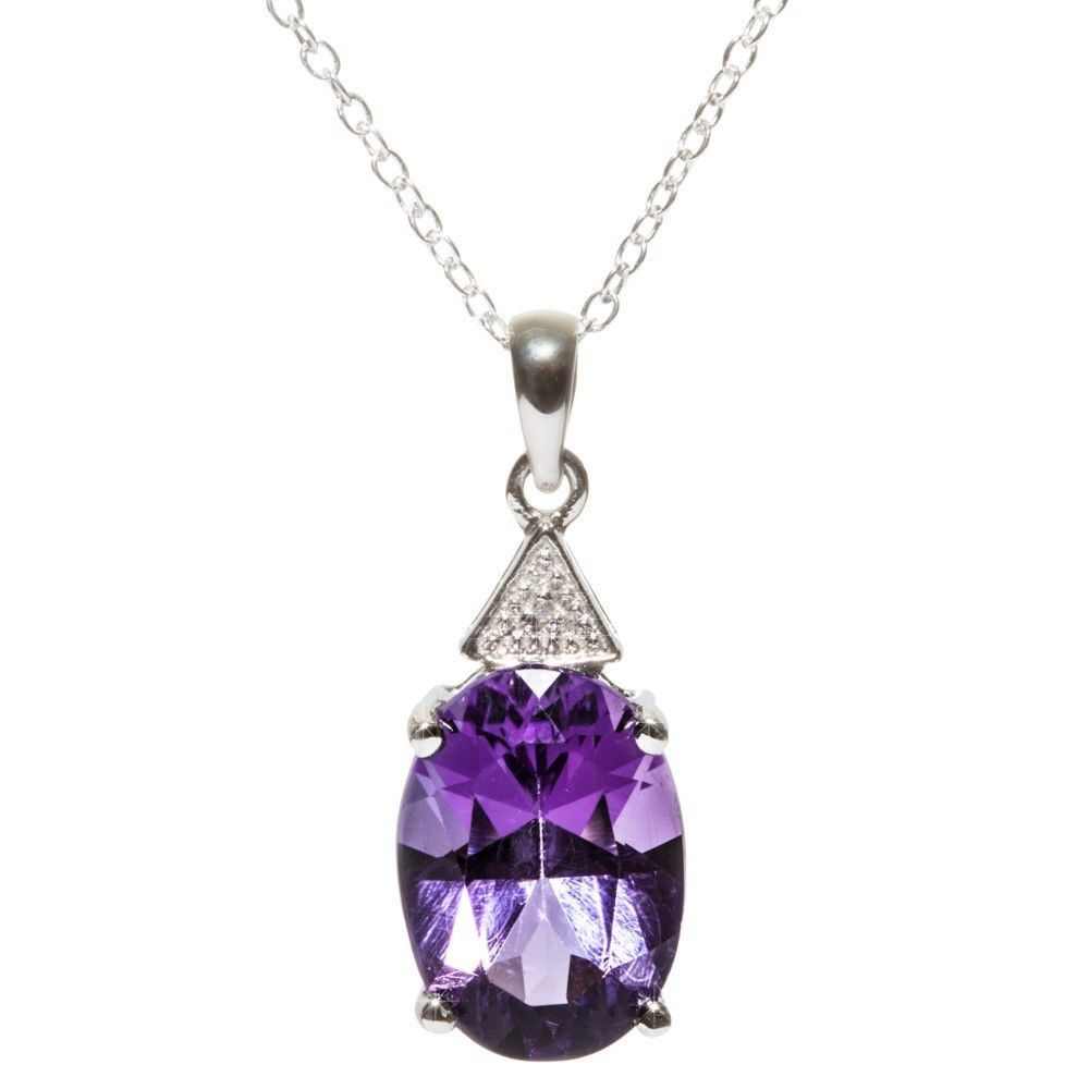Sterling Silver .003ct Diamond and Amethyst Oval Pendant Necklace Check out www.Jewelryland.com for a great selection of high quality jewelry at extremely reasonable prices. Please feel free to re-pin, comment or like any of our jewelry.