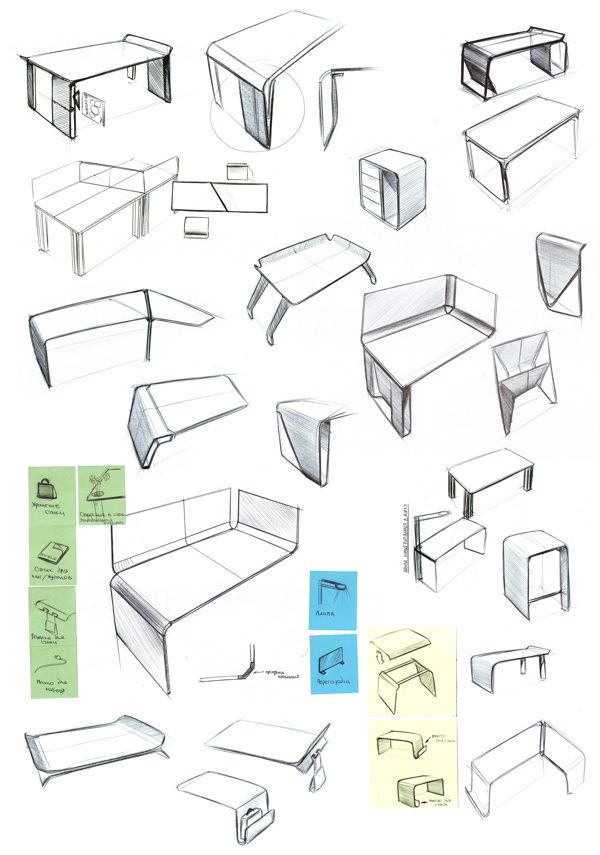 Office furniture on behance industrial design id for Furniture design sketches