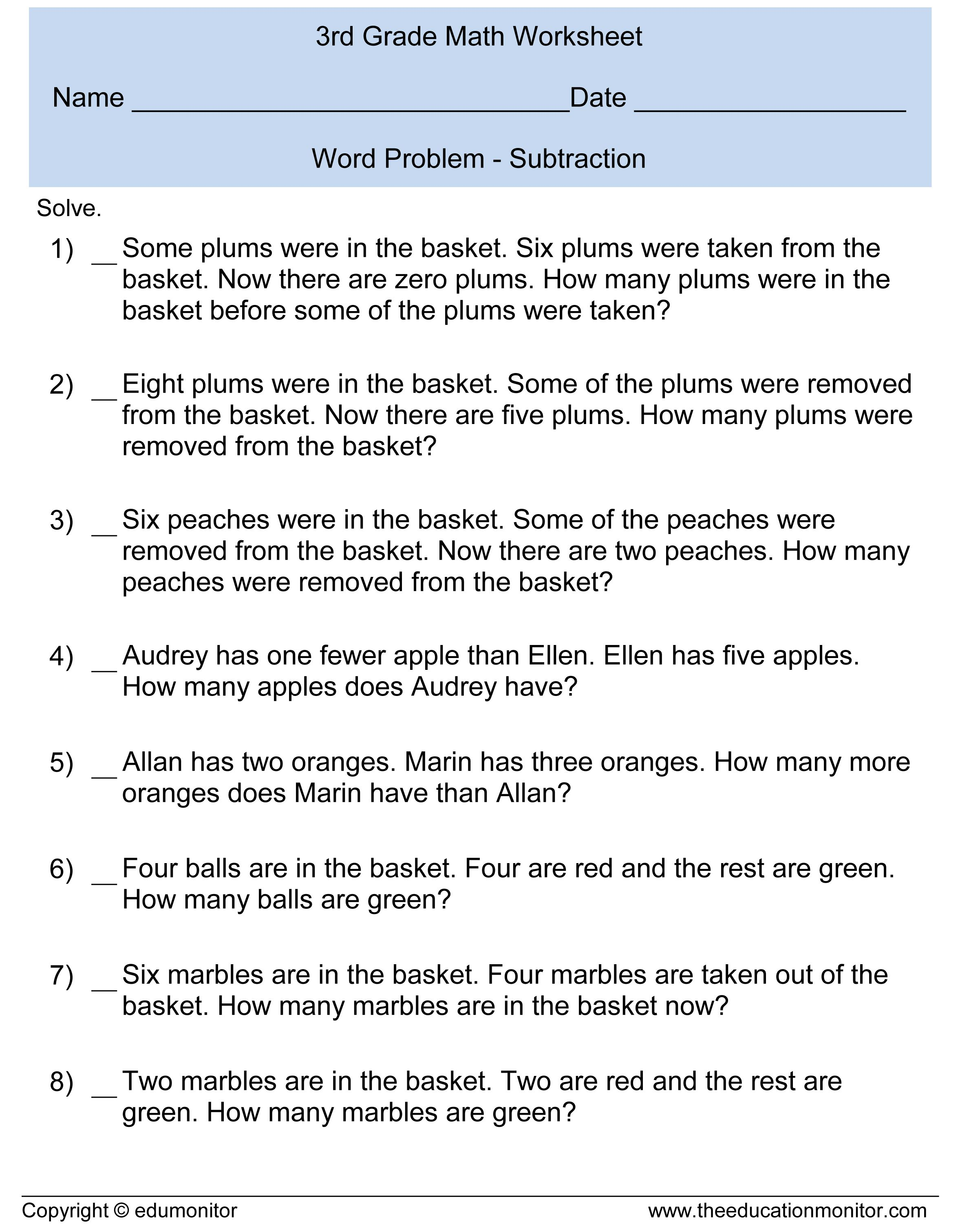 Third Grade Subtraction Word Problems