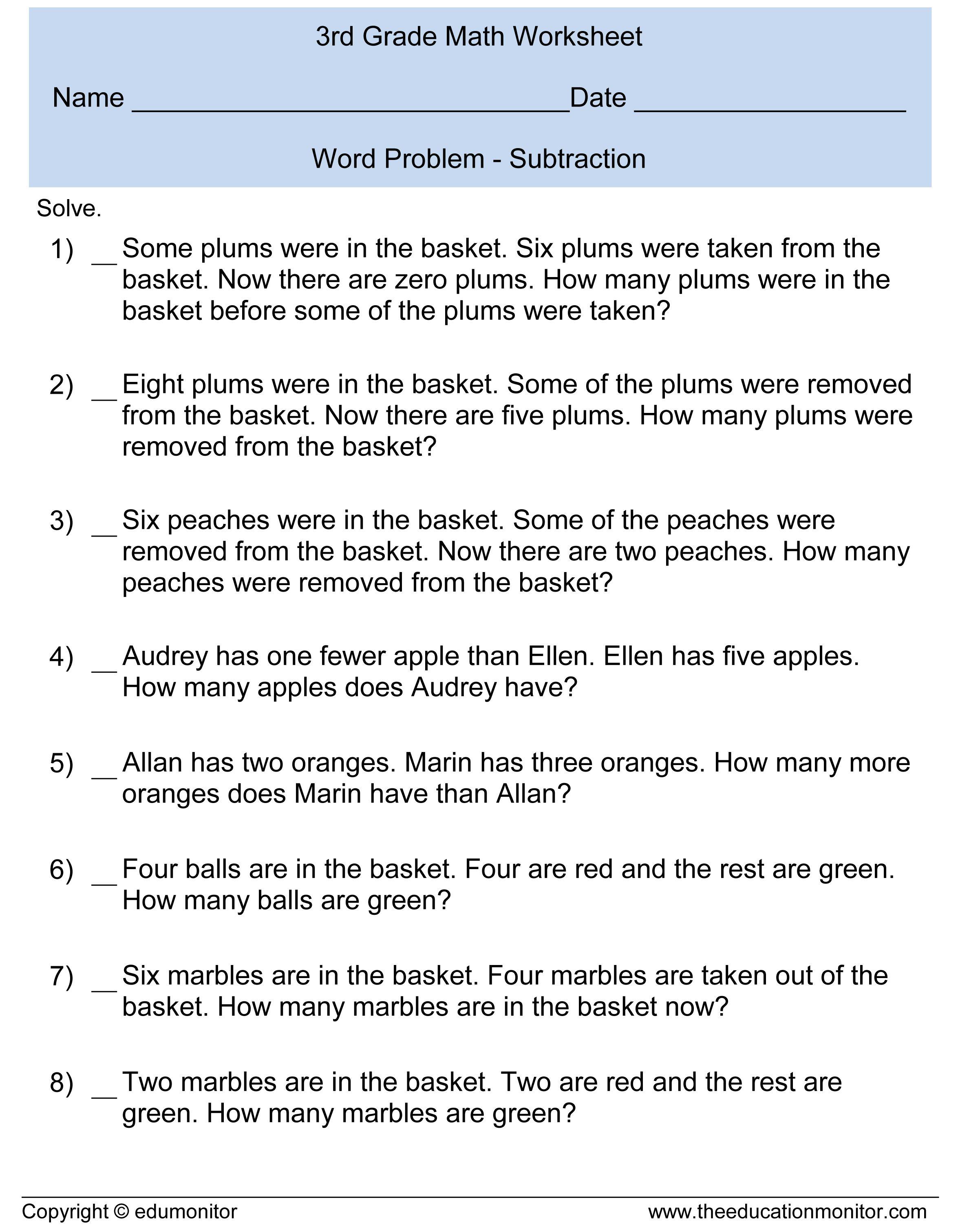 Third Grade Subtraction Word Problems