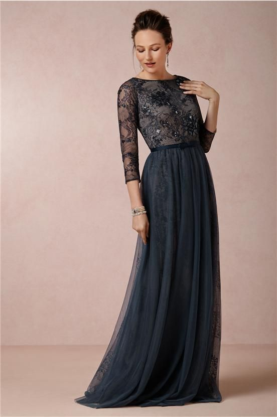 ef1a1044385 Illusion 3 4 Long Sleeves Navy Blue Mother of the Bride Dresses Crystal Ribbon  Belt Lace Top Nude Underlay A-Line Tulle Mother Prom Gowns
