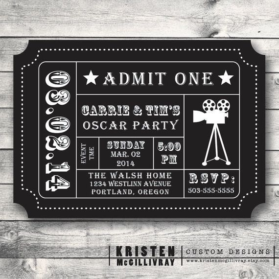 Oscar Party Invitation, Movie Night Party, Movie Ticket, Ticket - invitation ticket