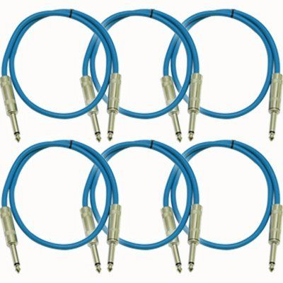 Seismic Audio Sastsx 3 6 Pack 3 Foot Ts 1 4 Guitar Instrument Or Patch Cables Blue By Seismic Audio Effects Unit Flexible Rubber Recording Equipment