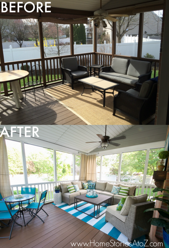 Lowe S Screen Porch Deck Makeover Reveal House With Porch Porch Makeover Porch Furniture