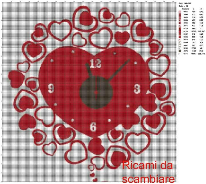 Orologio a cuore punto croce ricamo punto croce e for Orologio punto croce schemi gratis