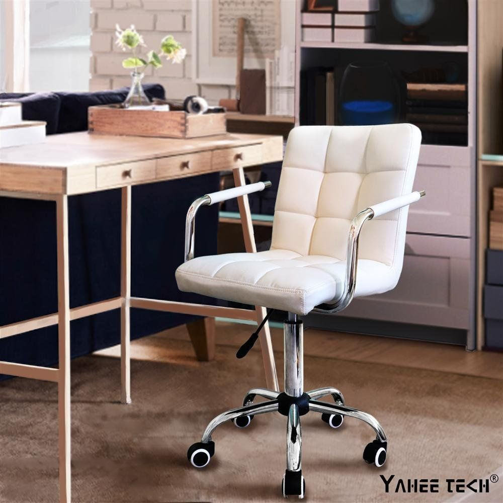 Pu Leather Midback Adjustable Executive Office Chair White White Desk Chair No Wheels White Desk Chair White Office Chair