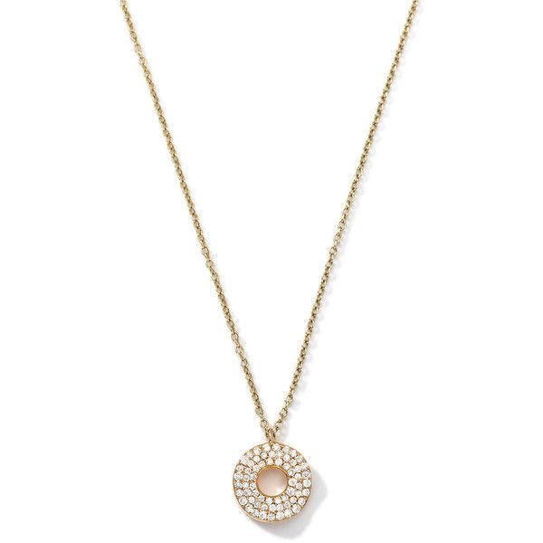 Ippolita 18k Gold Mini Stardust Wavy Disc Drop Necklace with Diamonds... (6.665 BRL) ❤ liked on Polyvore featuring jewelry, necklaces, gold, diamond necklace, yellow gold diamond necklace, diamond circle pendant necklace, gold pendant necklace and gold drop necklace