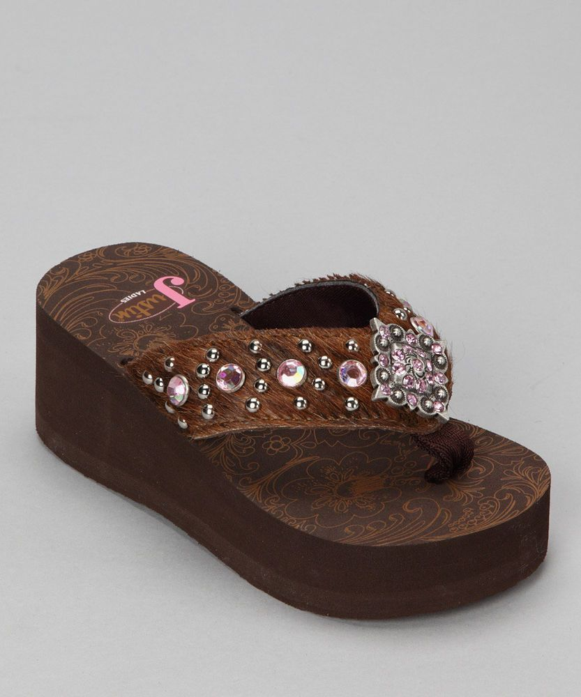 eb964ed9c NEW Justin Boots Girl Childrens Western Bling Rhinestone FLIP FLOPS Addison  Shoe  Justin  FlipFlops