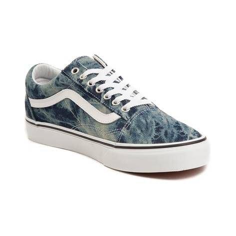 35c62ea479  p Throw your skate style back to the 80 s with the new Old Skool Skate  Shoe from Vans! The Old Skool Skate Shoe rocks a rad acid washed denim  upper classic ...