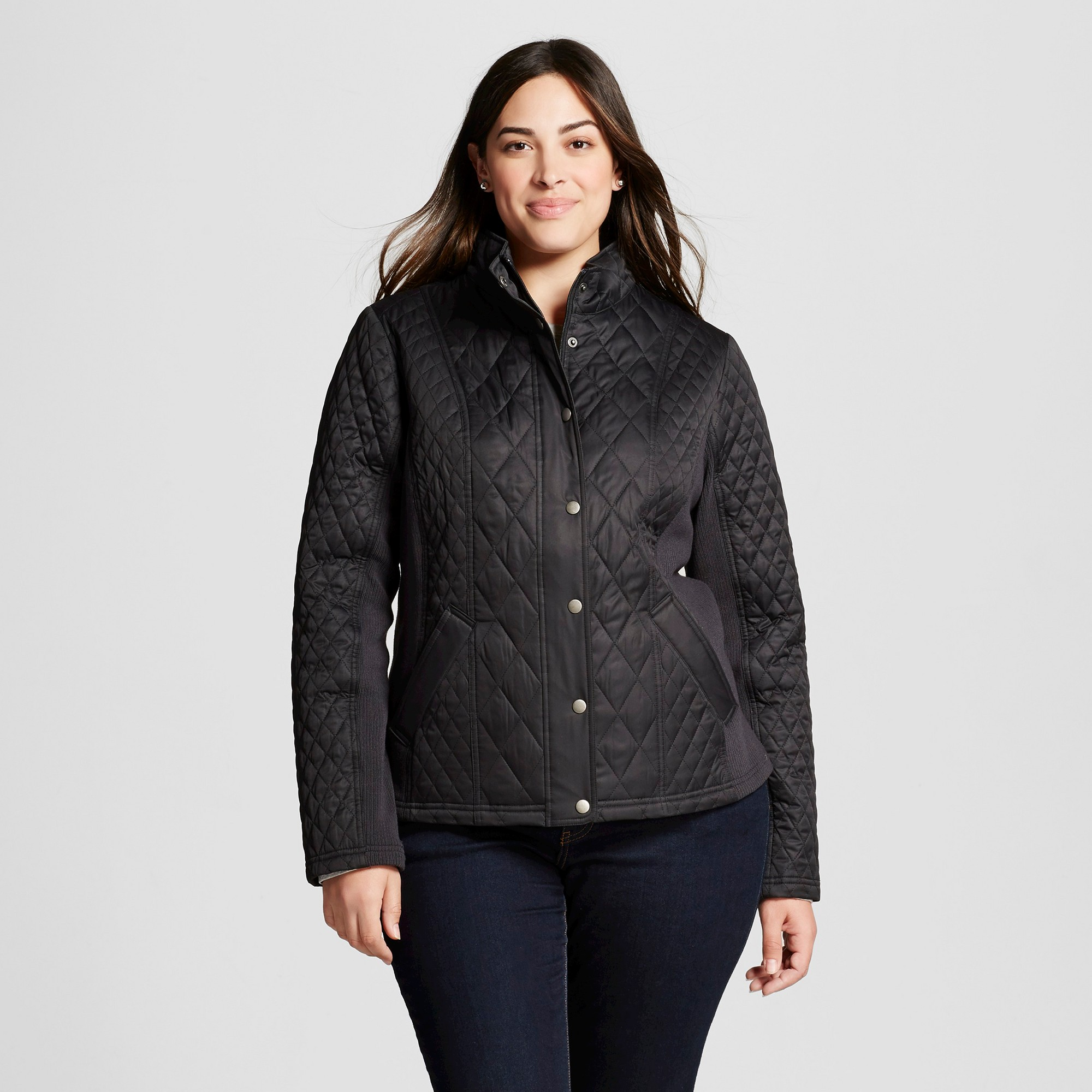 women's plus size quilted jacket with ribbing - ava & viv - black
