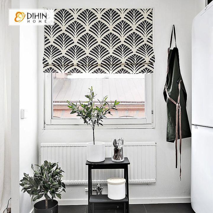 DIHIN HOME Black Leaves Printed Roman Shades ,Easy Install
