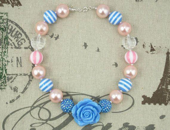 light pink blue chunky bubblegum necklacegirls chunky by babebmine, $7.40